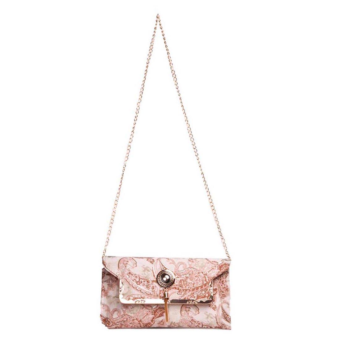 Aliado | Aliado Faux Leather Printed Cream & Brown Magnetic Snap Fold Over Sling Bag