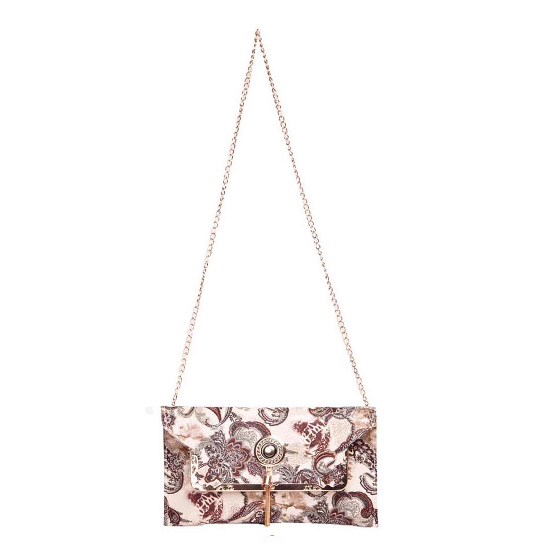Aliado | Aliado Faux Leather Printed Cream and  Brown Fold Over Magnetic Snap Sling Bag