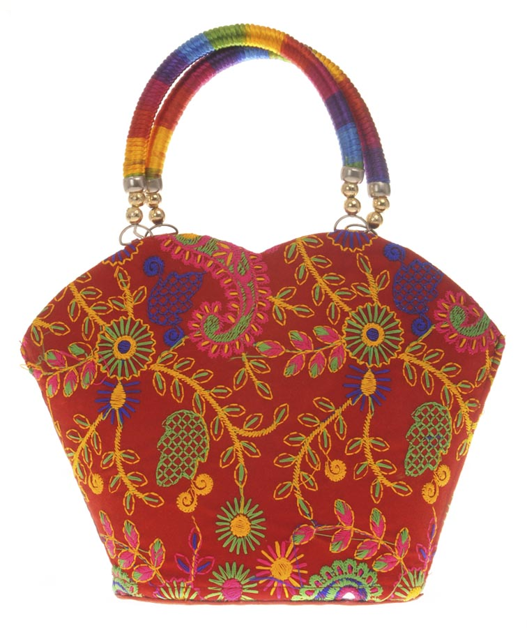 Aliado | Envie Cloth/Textile/Fabric Embroidered Red & Multi Tote Bag