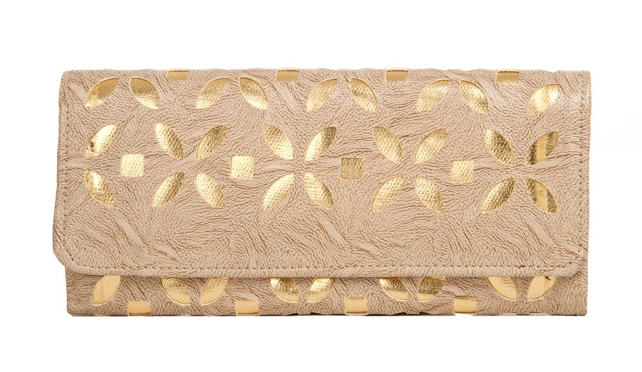 Aliado | Envie Faux Leather Cream Coloured Magnetic Snap  Closure Embellished   Clutch