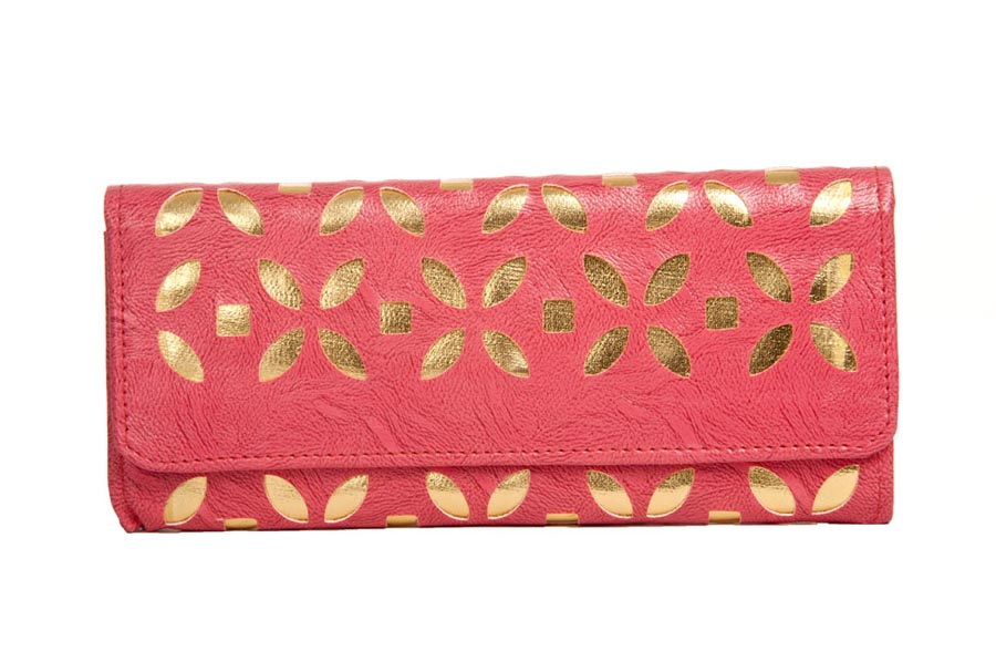 Aliado | Envie Faux Leather Embellished Pink Magnetic Snap  Closure   Clutch