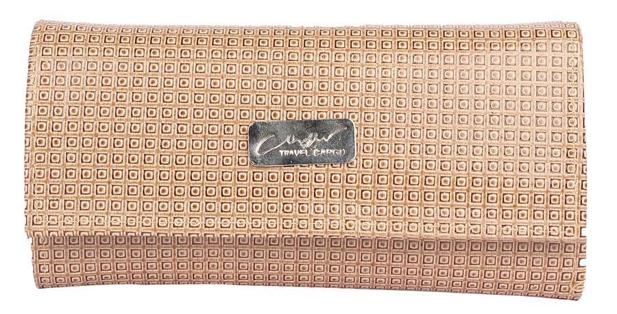 Aliado | Envie Faux Leather Beige Coloured Magnetic Snap Clutch