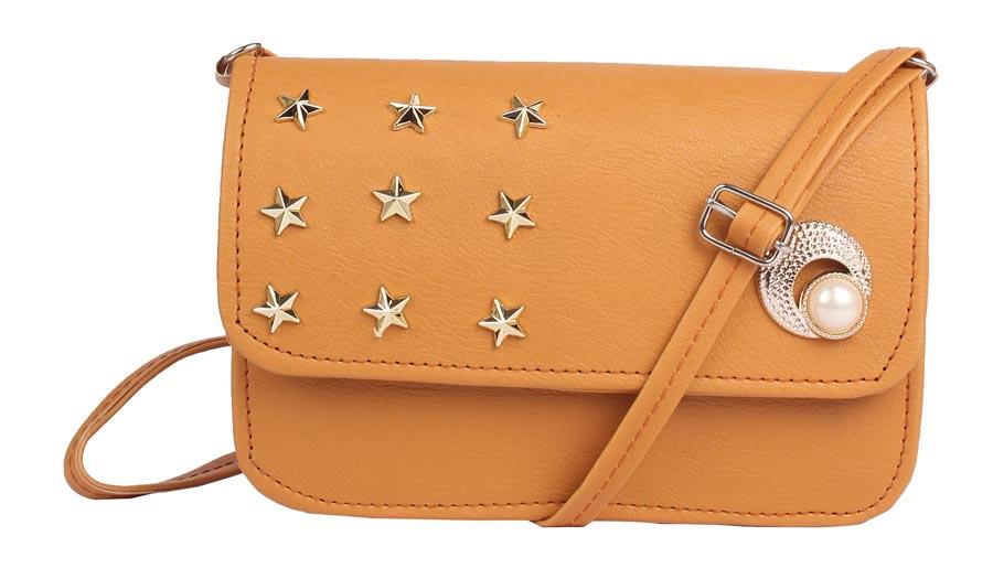 Aliado | Envie Faux Leather Brown Coloured Embellished Magnetic Snap Sling Bag