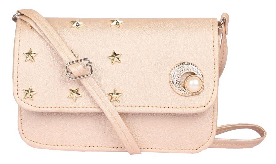 Aliado | Envie Faux Leather Cream Embellished Magnetic Snap Sling Bag