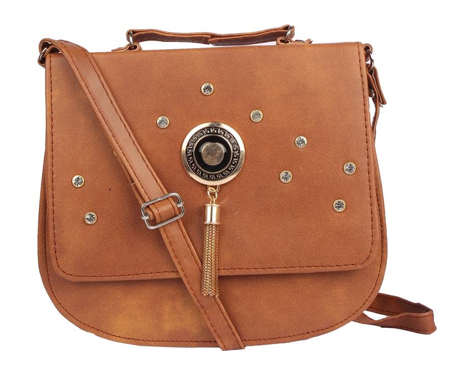 Aliado | Envie Faux Leather Coffee Brown Embellished Magnetic Snap Sling Bag