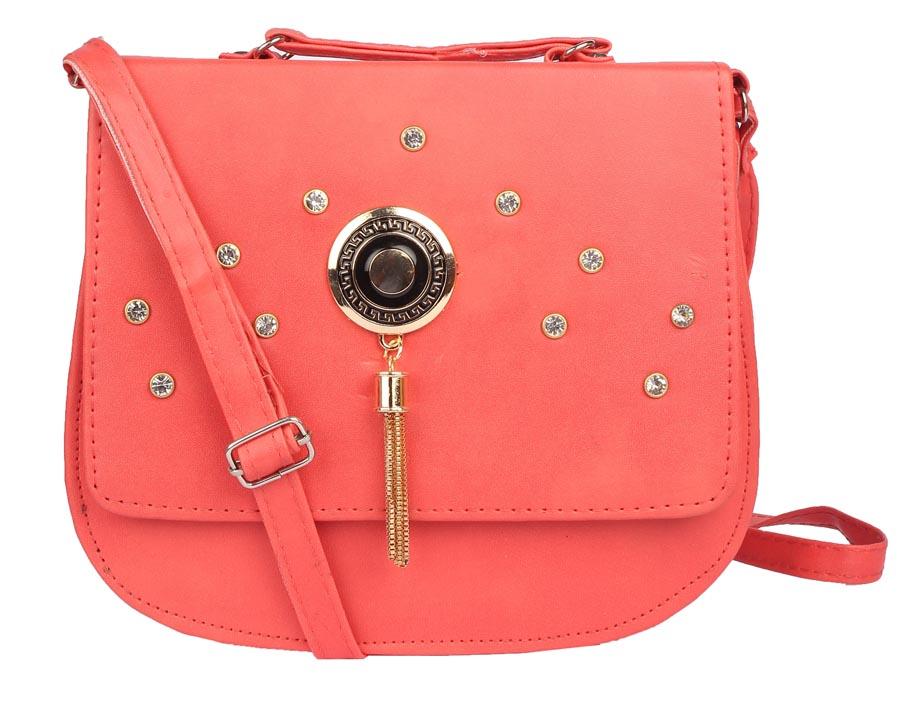Aliado | Envie Faux Leather Peach Embellished Magnetic Snap Crossbody Bag