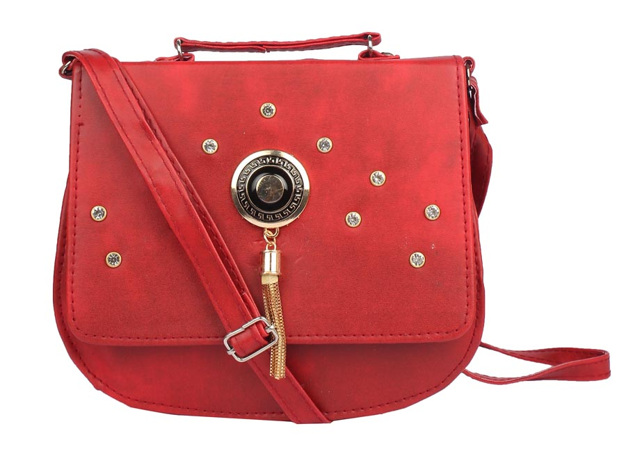 Aliado | Envie Faux Leather Red Embellished Magnetic Snap Crossbody Bag