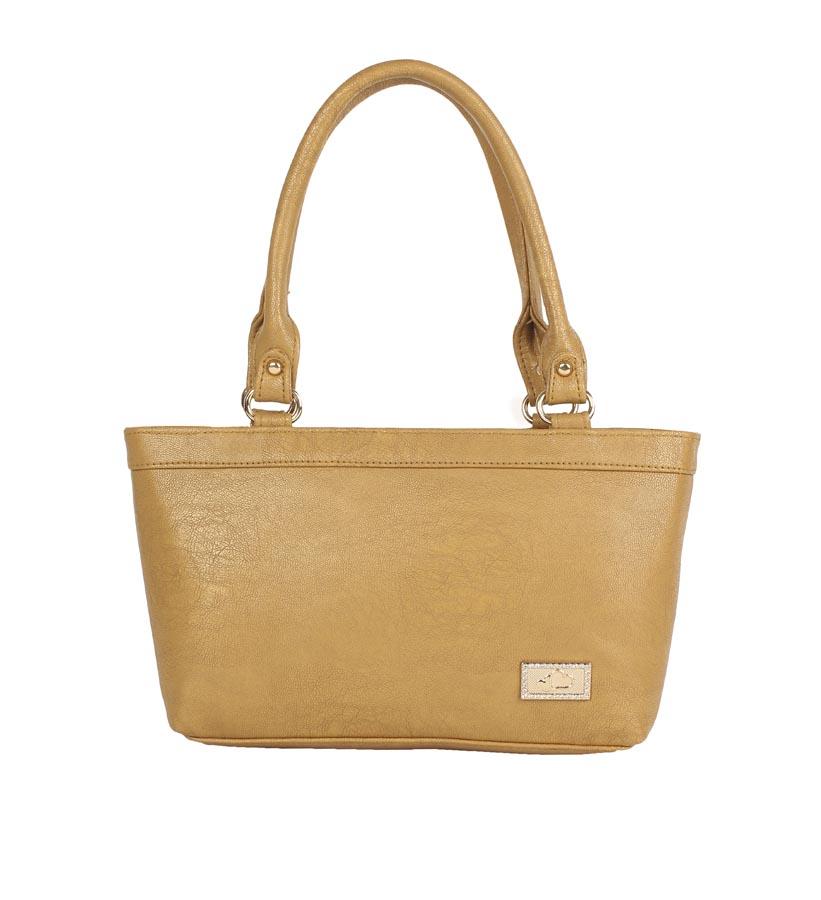 Aliado | Aliado Faux Leather Solid Mustard Zipper Closure Formal Tote   Bag