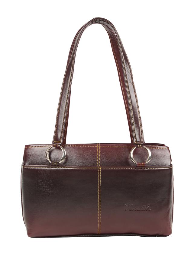 Aliado | Aliado Faux Leather Solid Brown & Coffee Brown Zipper Closure  Handbag