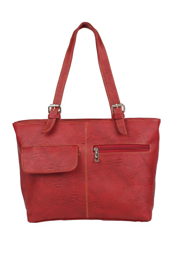 Aliado | Aliado Faux Leather Solid Red Zipper Closure Formal Handbag