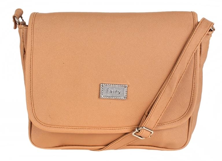 Aliado | Aliado Faux Leather Solid Beige Magnetic Snap Crossbody Bag