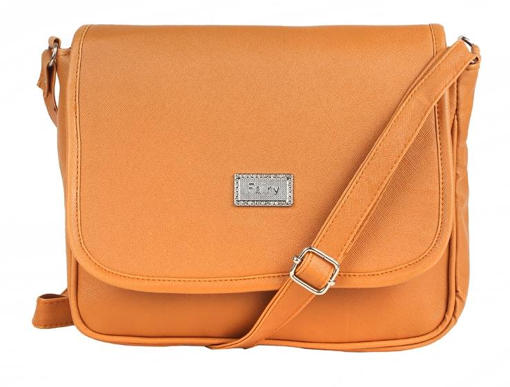 Aliado   Aliado Faux Leather Solid Mustard Magnetic Snap Crossbody Bag