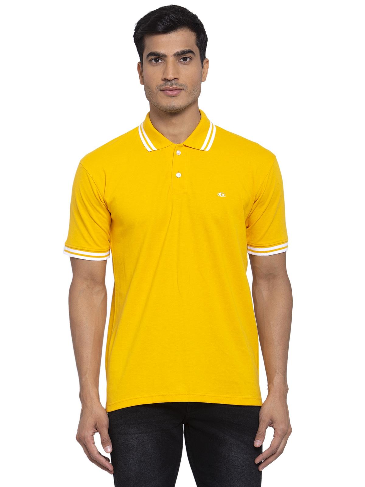 Allen Cooper | Allen Cooper Yellow Regular Fit Polo T-Shirts  For Men