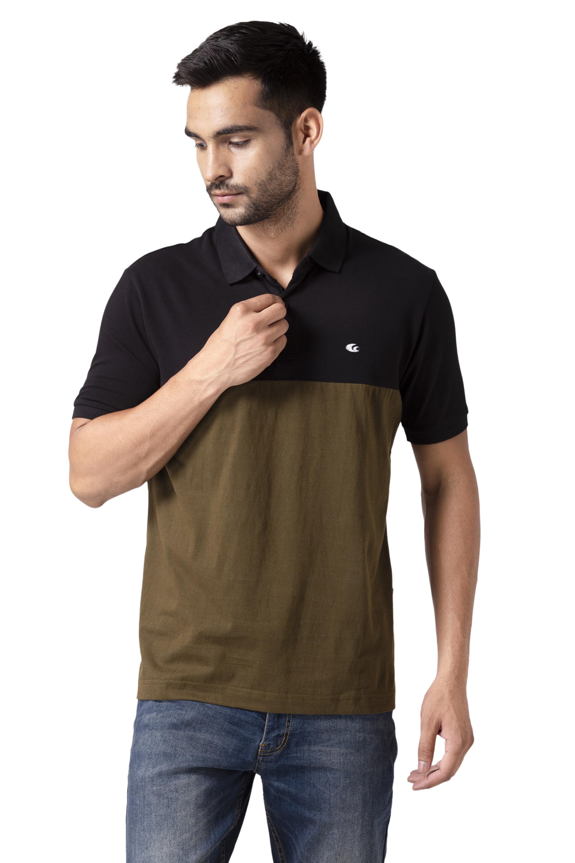 Allen Cooper | Allen Cooper Black & Olive ColorBlock Polo Tshirts for Men