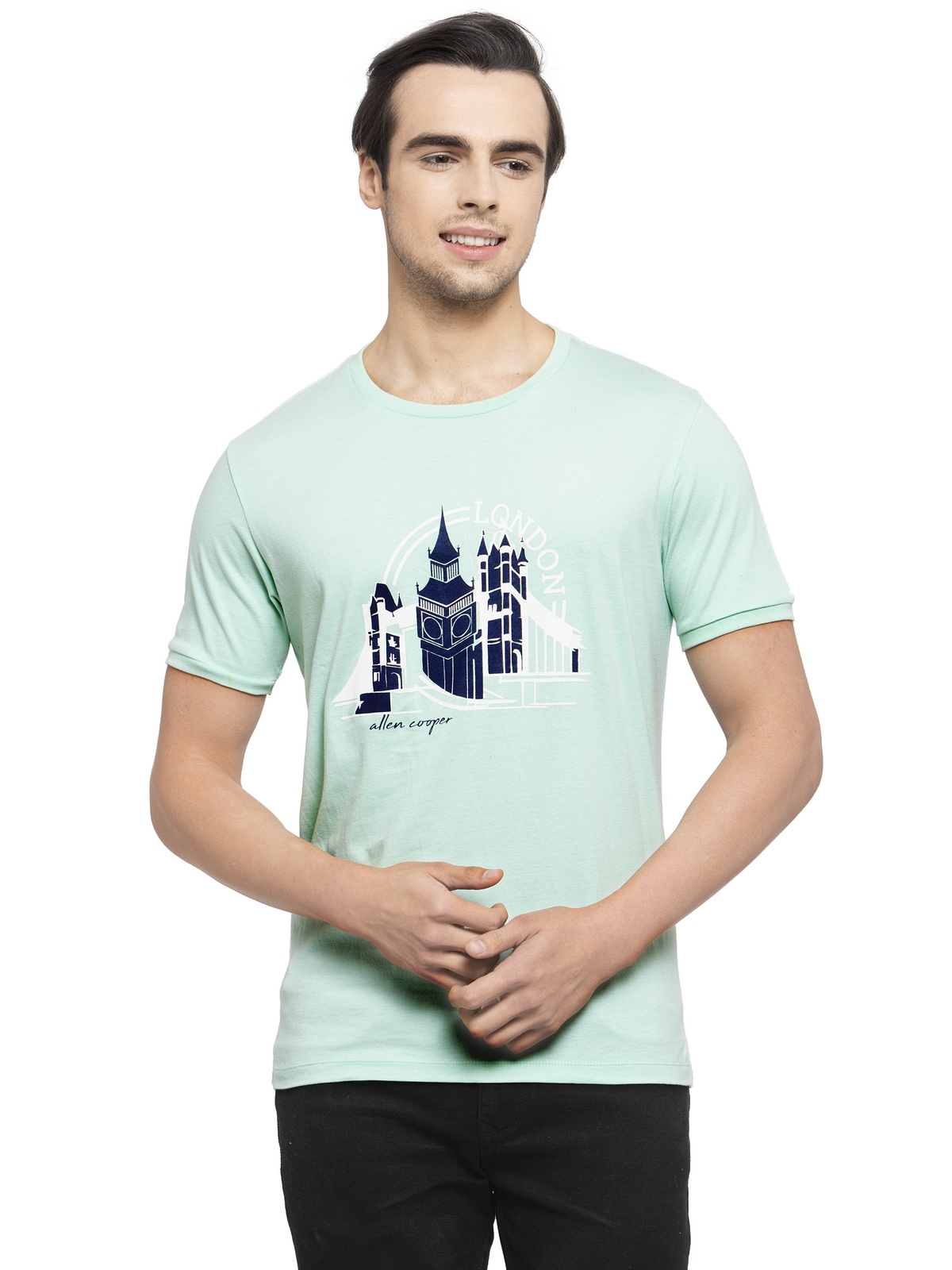 Allen Cooper | Allen Cooper Aqua Regular Fit Round Neck T Shirts  For Men