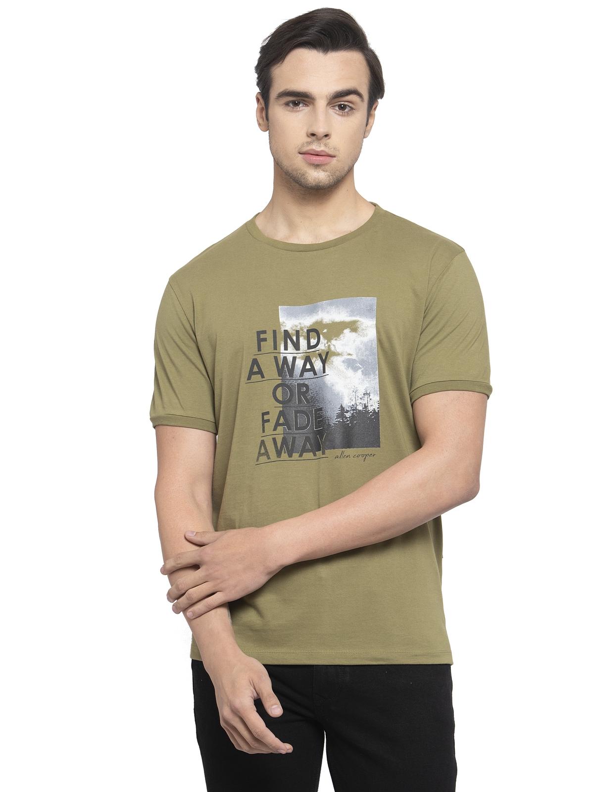 Allen Cooper | Allen Cooper Olive Regular Fit Round Neck T Shirts  For Men