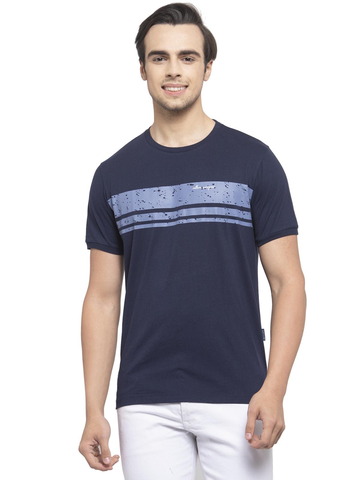 Allen Cooper   Allen Cooper Navy Blue Regular Fit Round Neck T Shirts  For Men