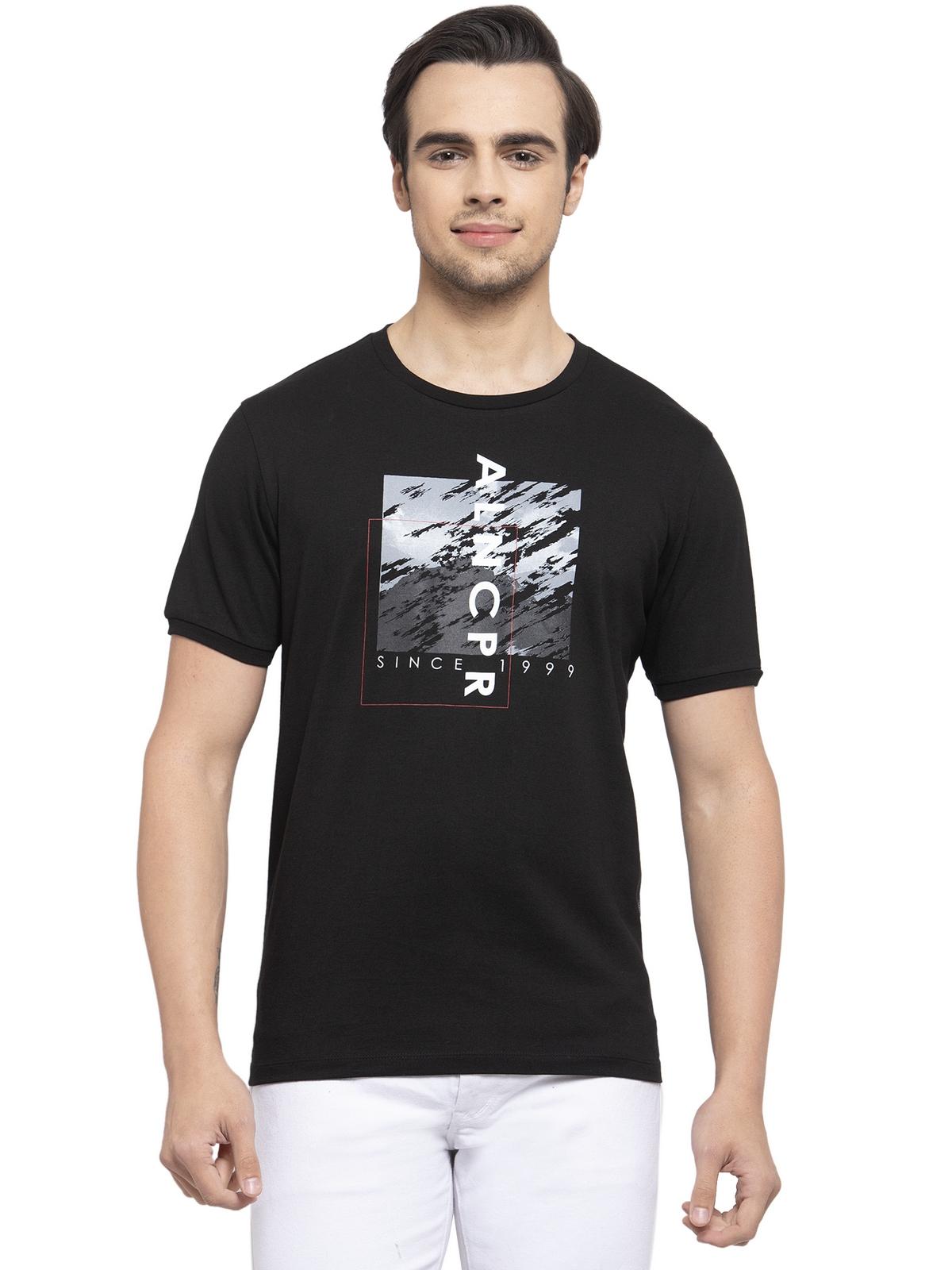 Allen Cooper   Allen Cooper Black Regular Fit Round Neck T Shirts  For Men