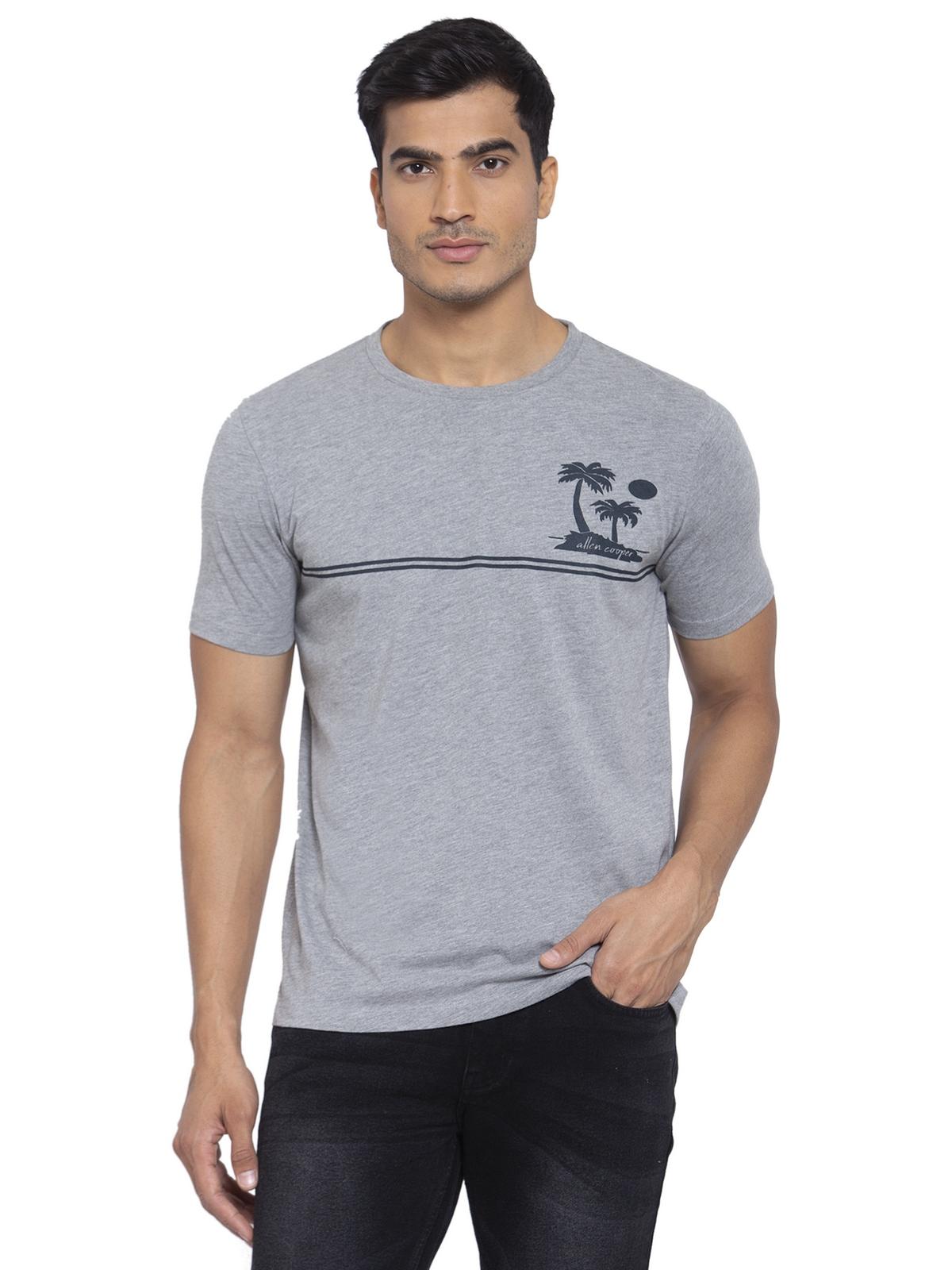Allen Cooper | Allen Cooper Greymelange Regular Fit Round Neck T Shirts  For Men