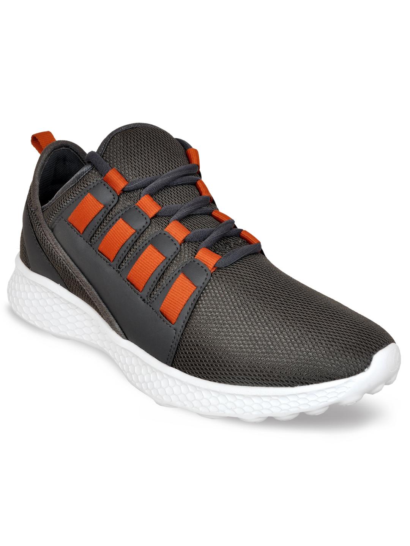 Allen Cooper | Allen Cooper Grey Orange Sports Shoes For Men(36218)
