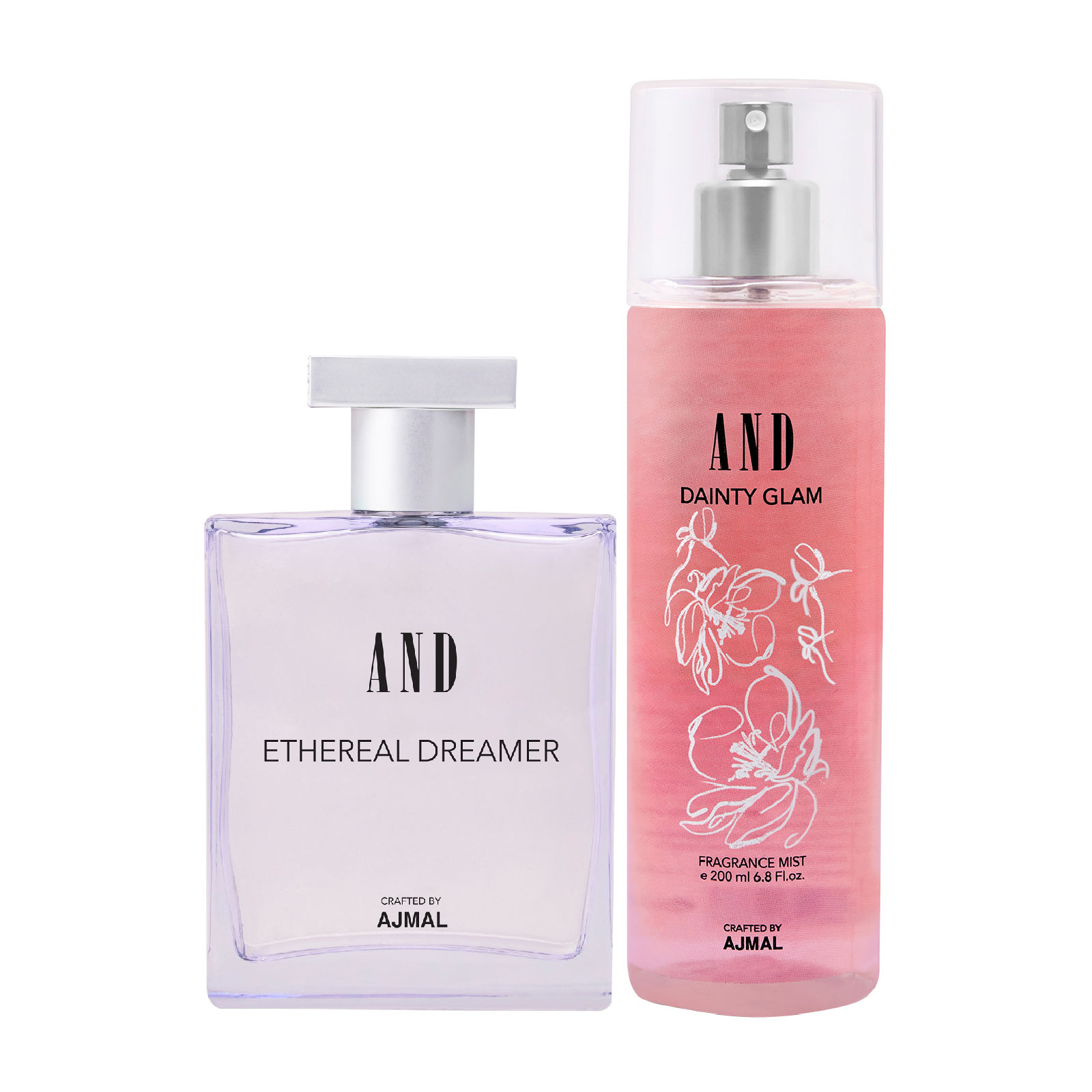 AND Crafted By Ajmal | AND Ethereal Dreamer EDP 100ML & Dainty Glam Body Mist 200ML Pack of 2 for Women Crafted by Ajmal + 2 Parfum Testers