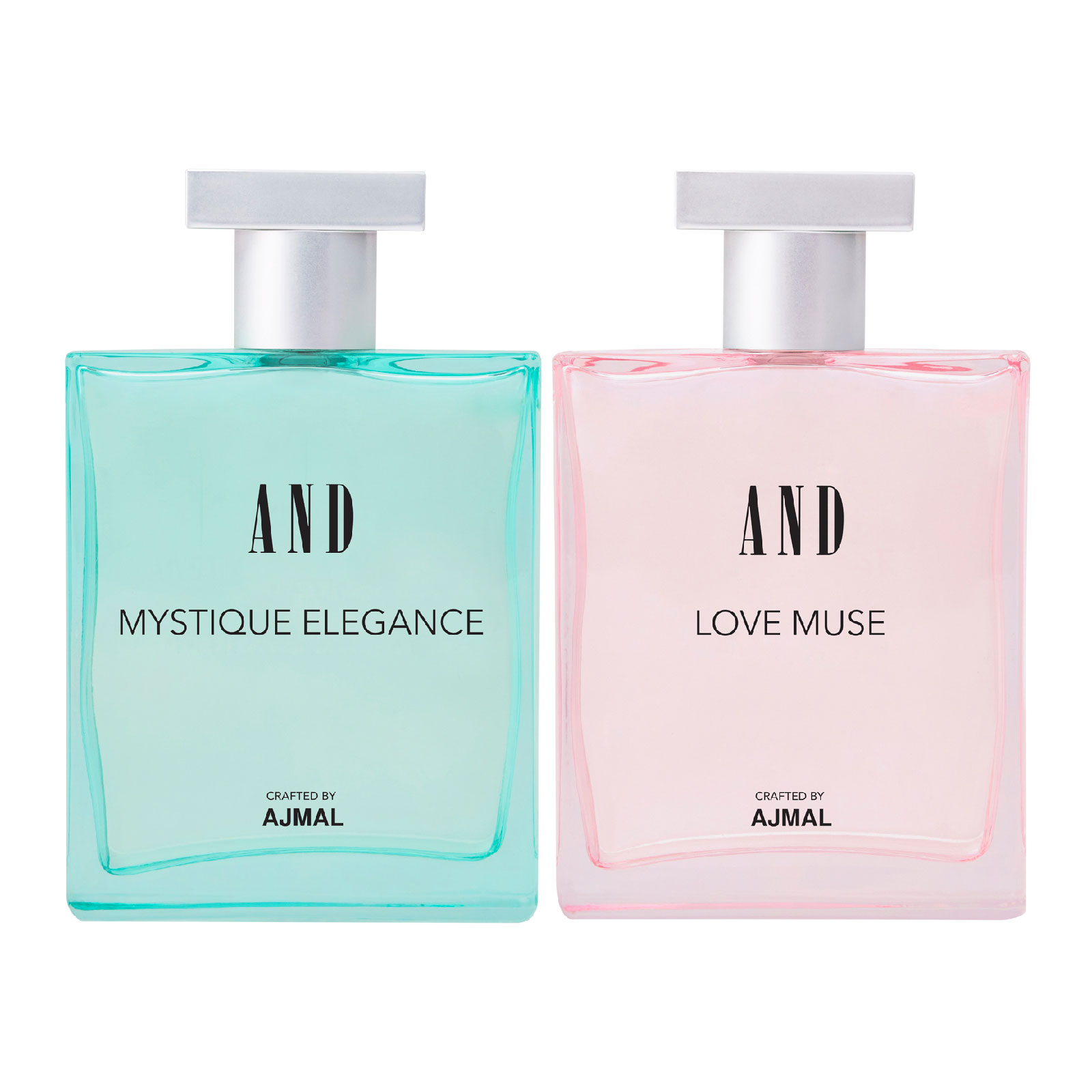 AND Crafted By Ajmal | AND Mystique Elegance & Love Muse Pack of 2 Eau De Parfum 50ML each for Women Crafted by Ajmal + 2 Parfum Testers