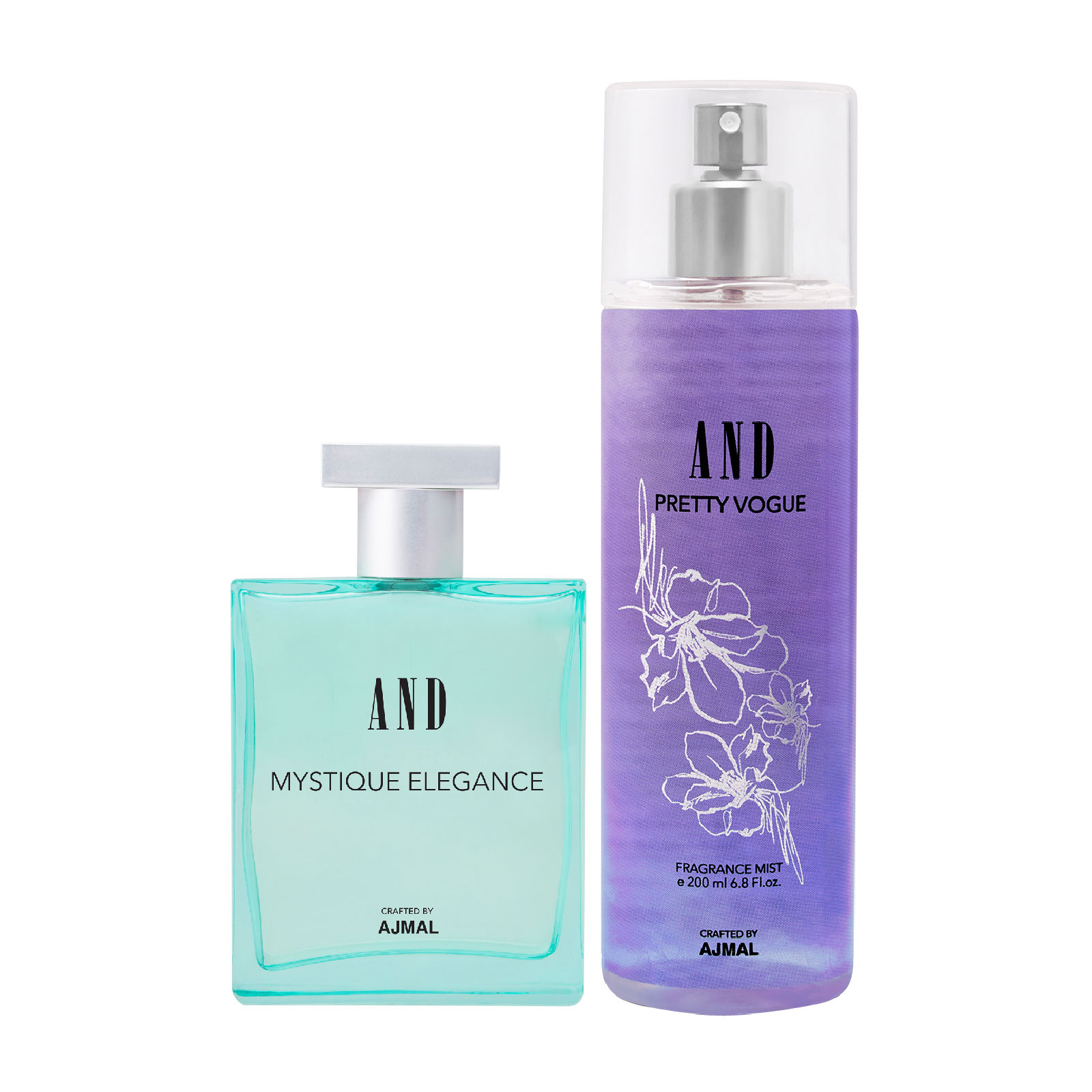 AND Crafted By Ajmal | AND Mystique Elegance EDP 50ML & Pretty Vogue Body Mist 200ML Pack of 2 for Women Crafted by Ajmal + 2 Parfum Testers