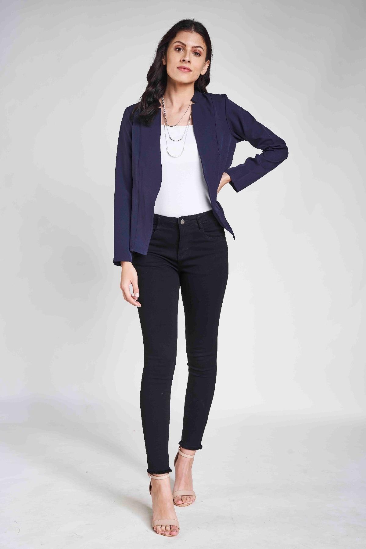 AND | Blue V-Neck Blazer Jacket