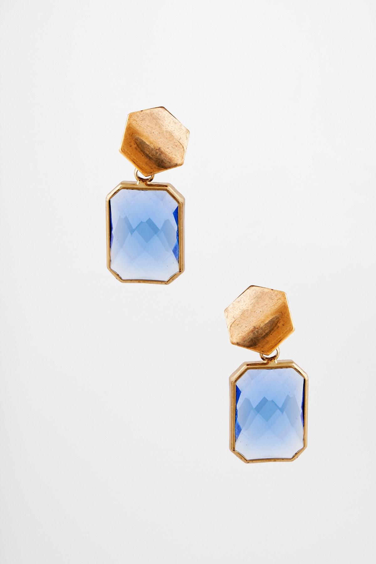 AND   Blue Glass Stone Small Dangler Earrings