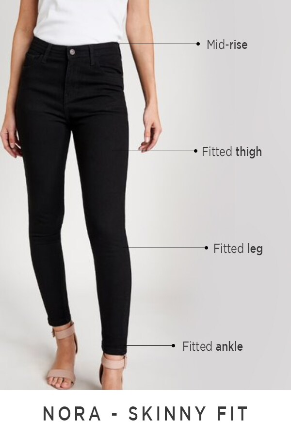AND | Nora Black Mid Rise Skinny Jeans