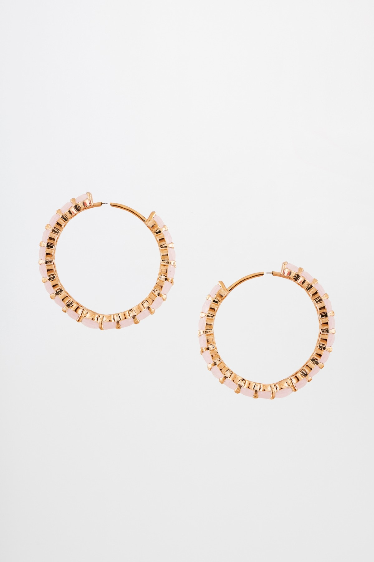 AND | Pink Hoop With Stone Earrings