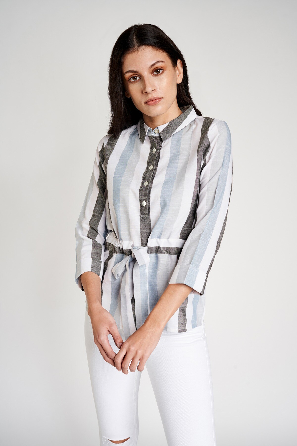 AND   Powder Blue Shirt Style Collar Cuff Top