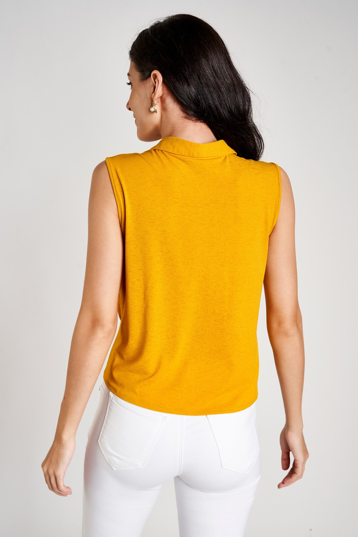 AND | Ochre Shirt Collar Fit and Flare Sleeveless Top
