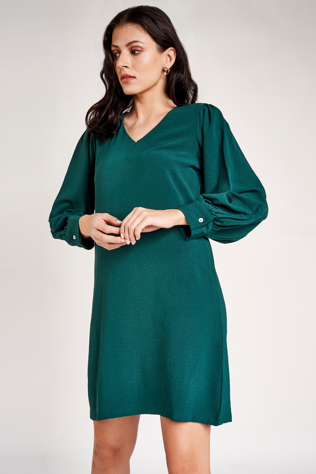 AND | Green V-Neck Fit and Flare Above Knee Dress