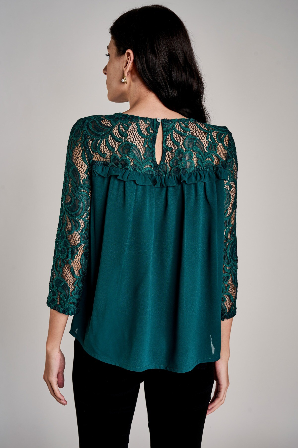 AND | Emerald Green Round Neck A-Line Top