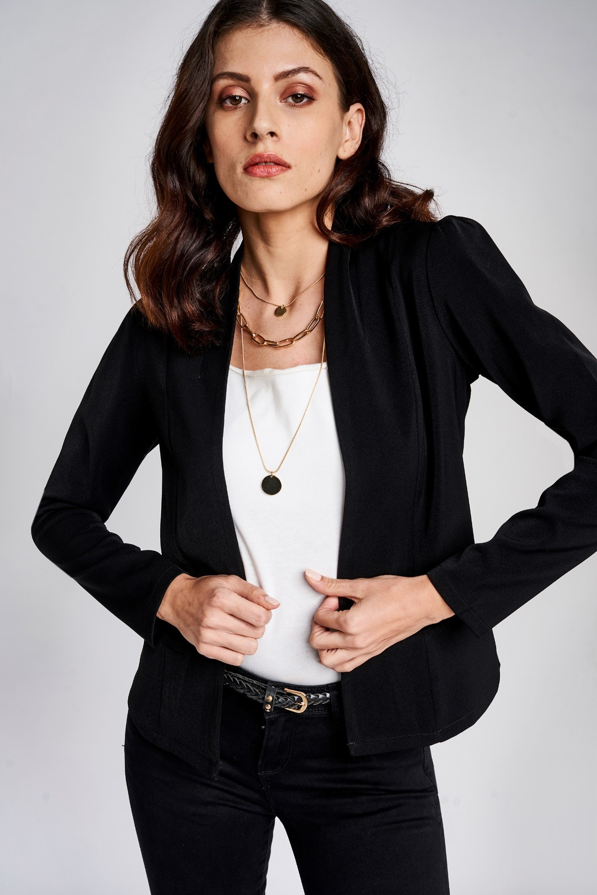 AND | Black Mandarin Collar Fit And Flare Jacket