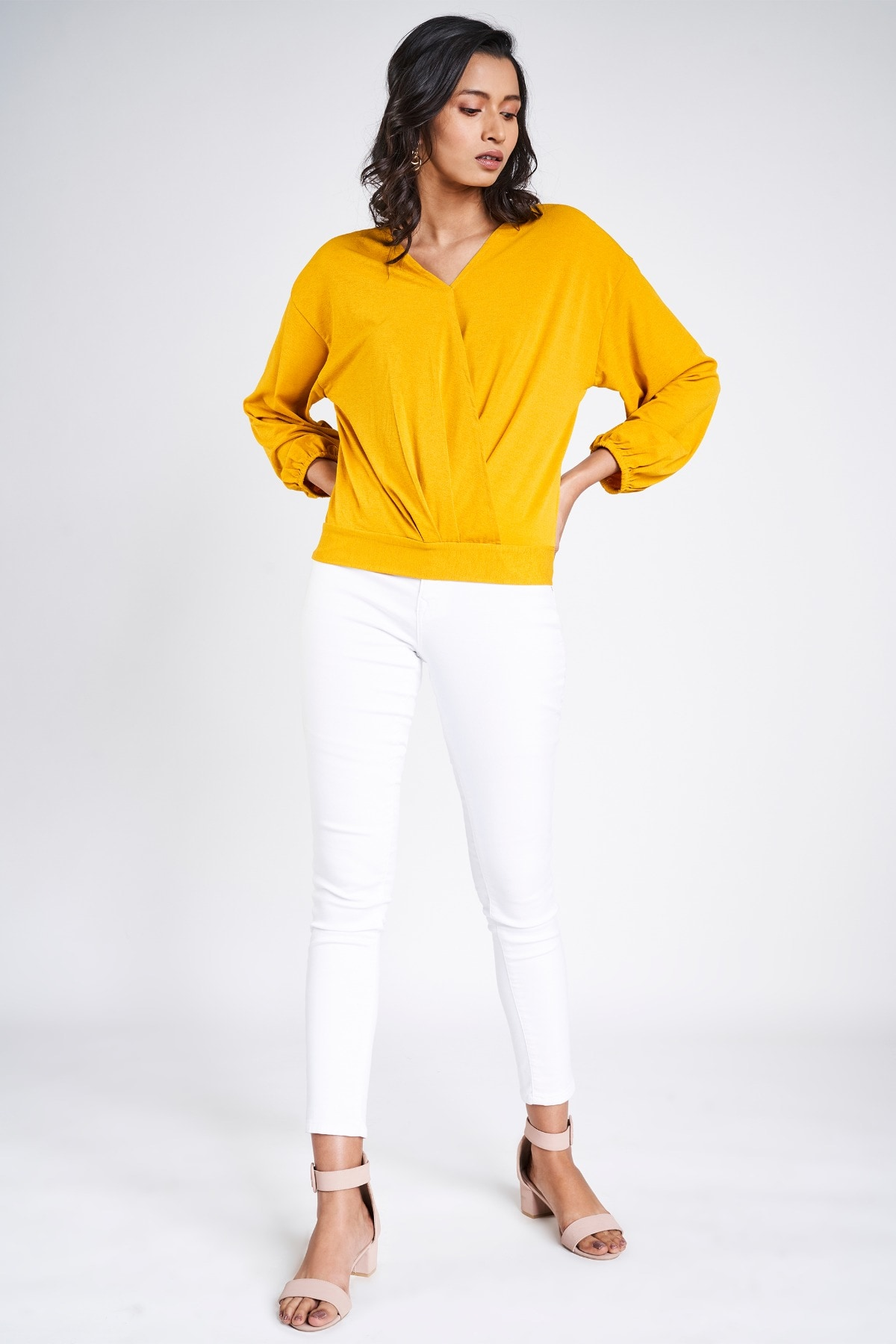 AND | Yellow V-Neck Blouson Top