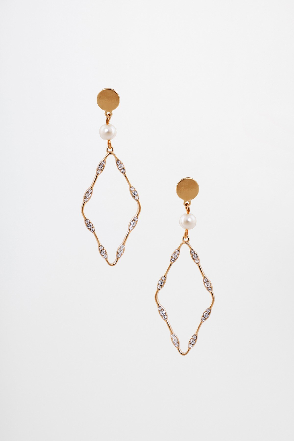 AND | Gold Dangler With Stone And Pearl Earrings