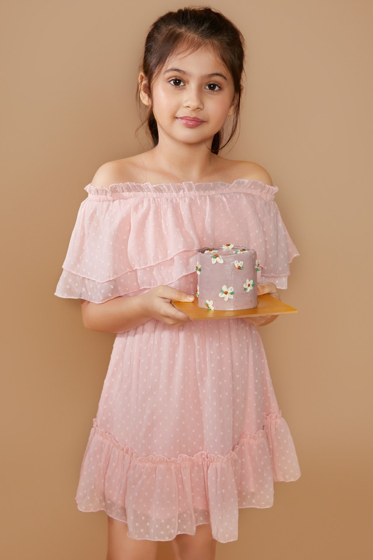 AND | Light Pink Regular Fit And Flare Dress