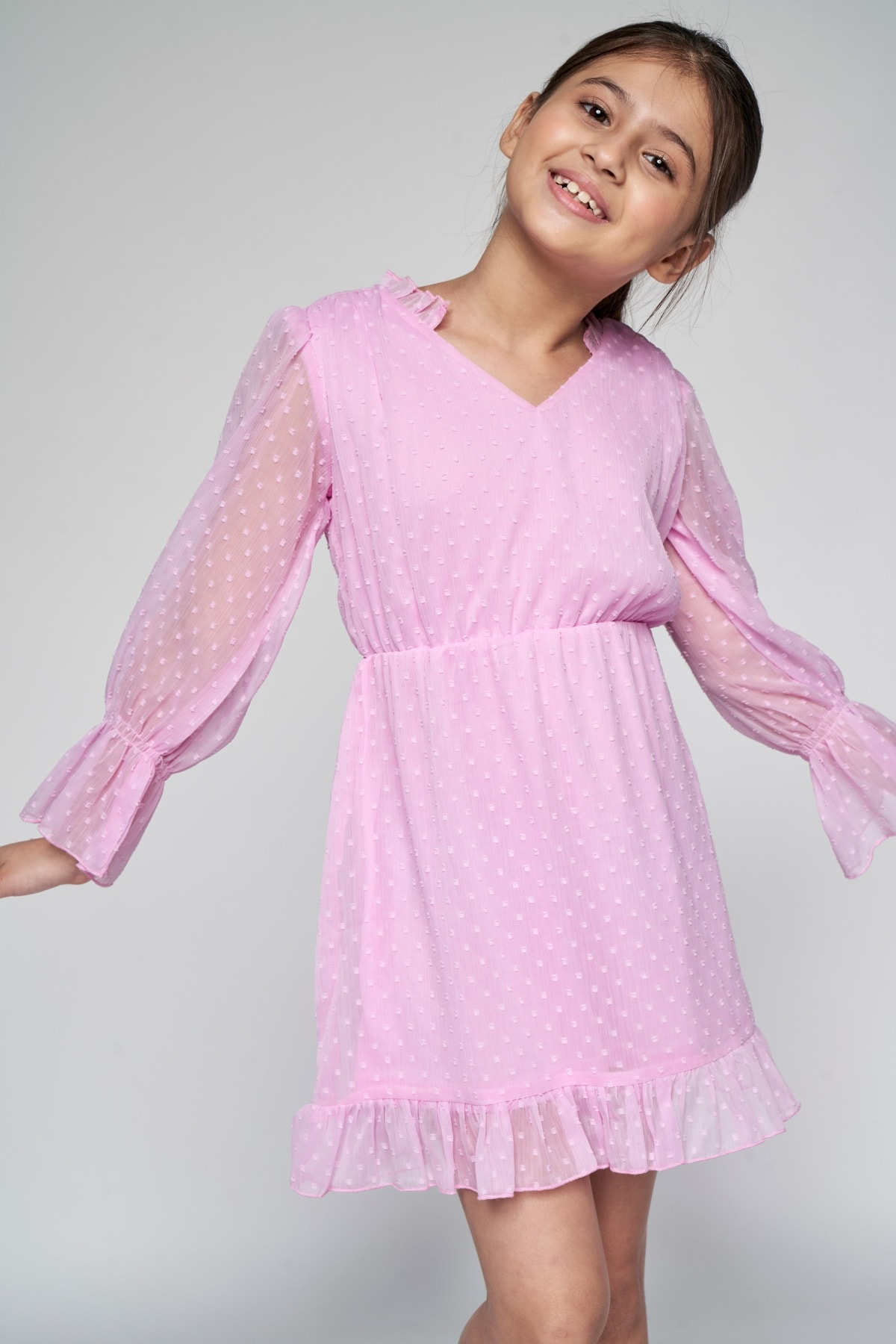 AND   Pink Gathered Fit And Flare Dress