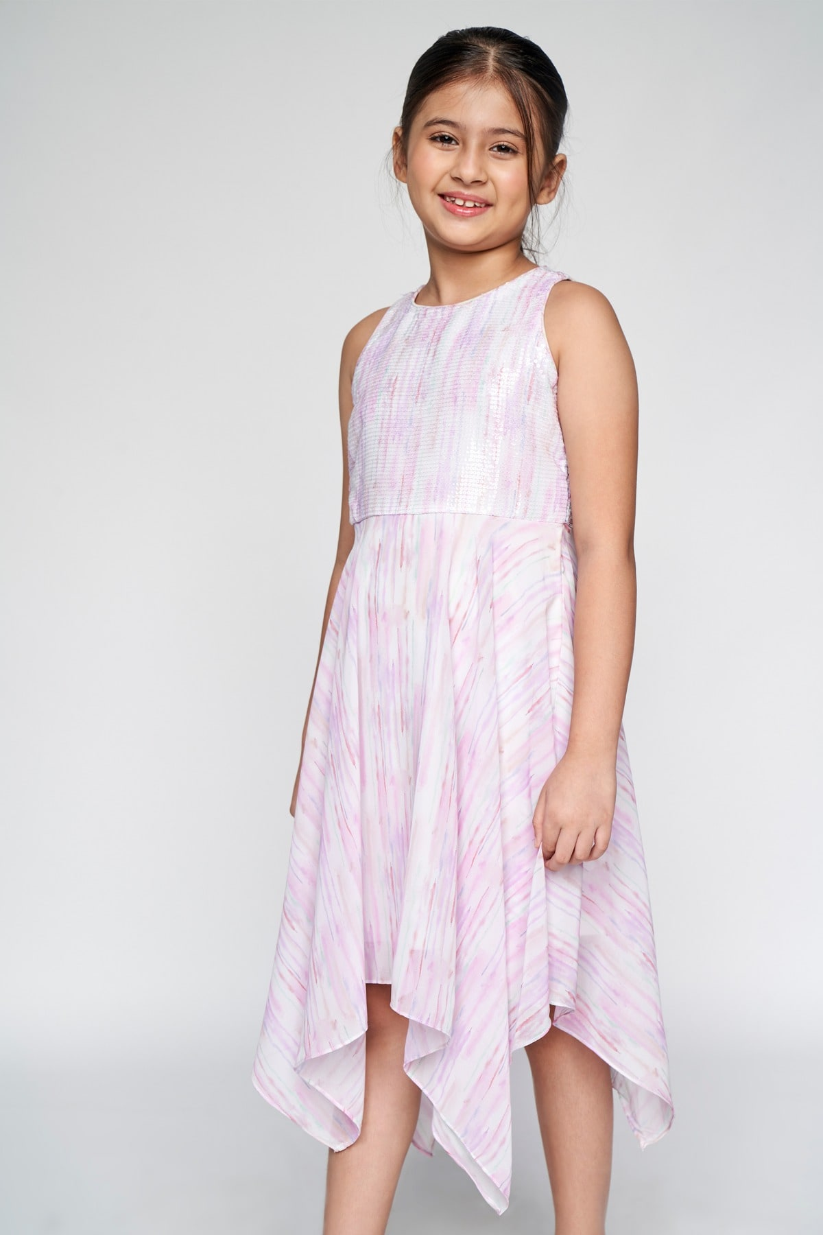 AND | Pink Abstract Printed Asymmetric Dress