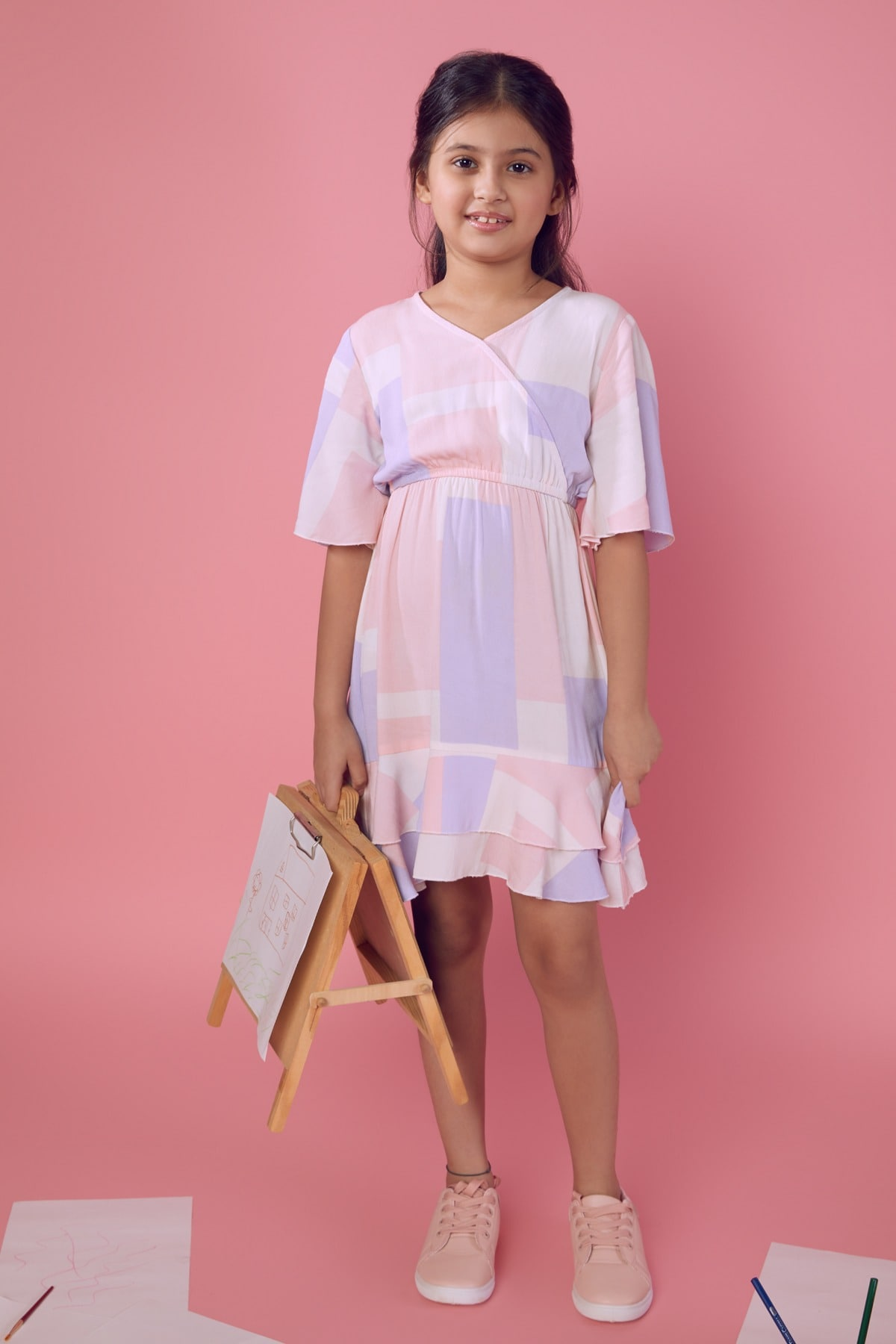 AND | Pink Geometric Fit And Flare Dress