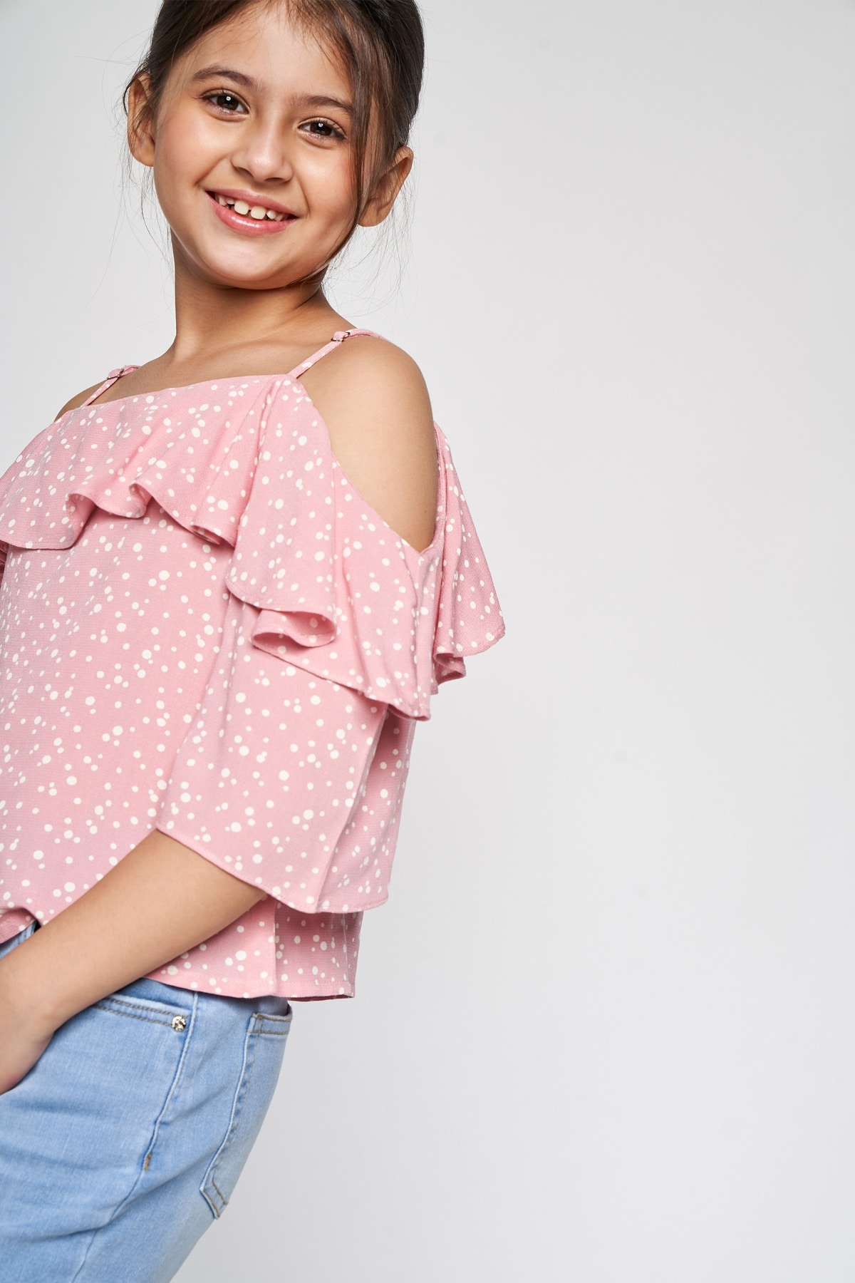 AND | Peach Polka Dots Straight Top