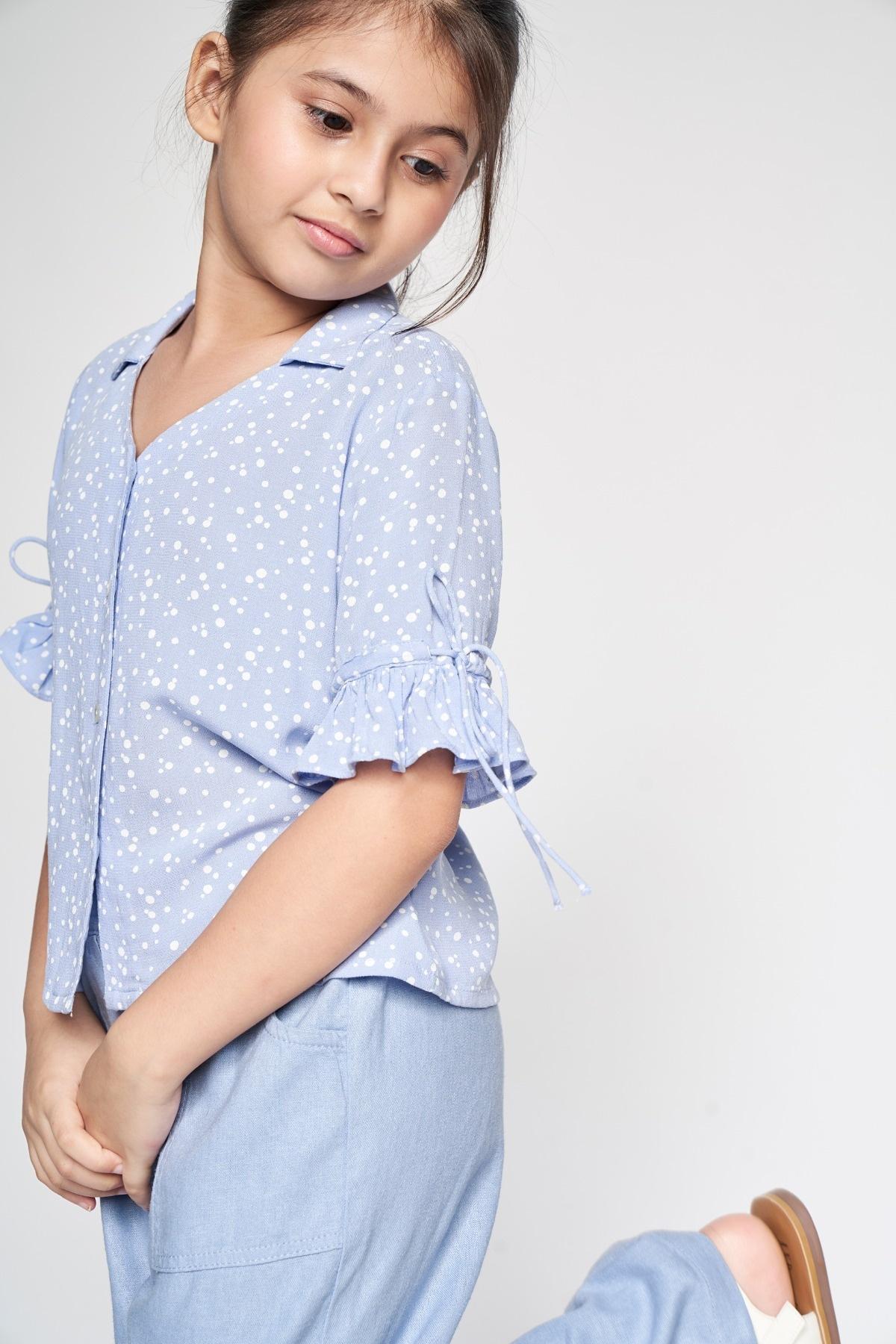 AND   Powder Blue Polka Dots Shirt Style Top