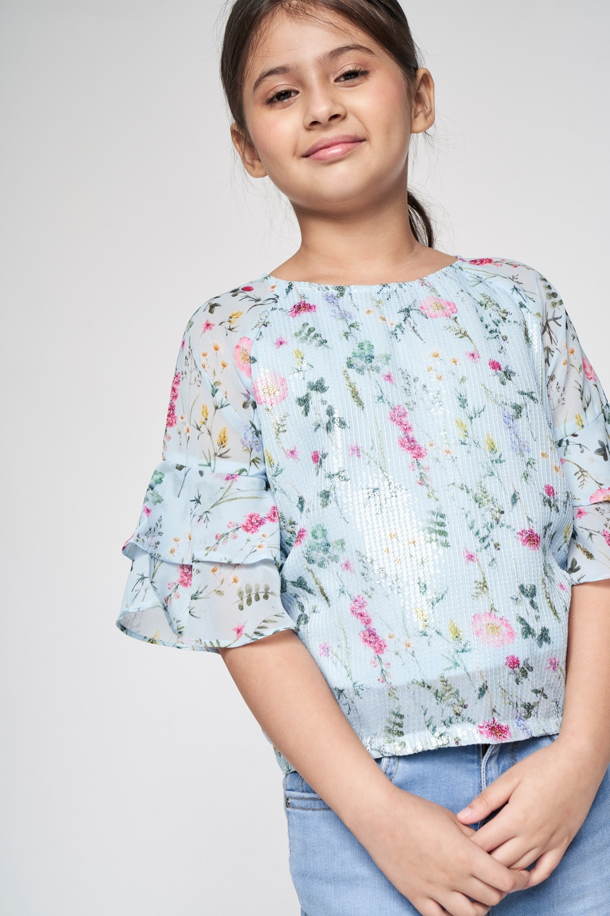 AND | Powder Blue Floral Straight Top