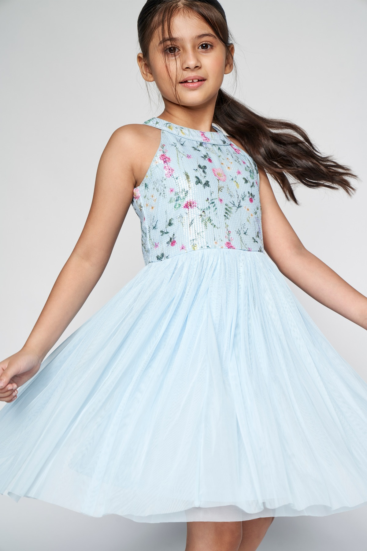 AND | Powder Blue Floral Embellished Fit And Flare Dress