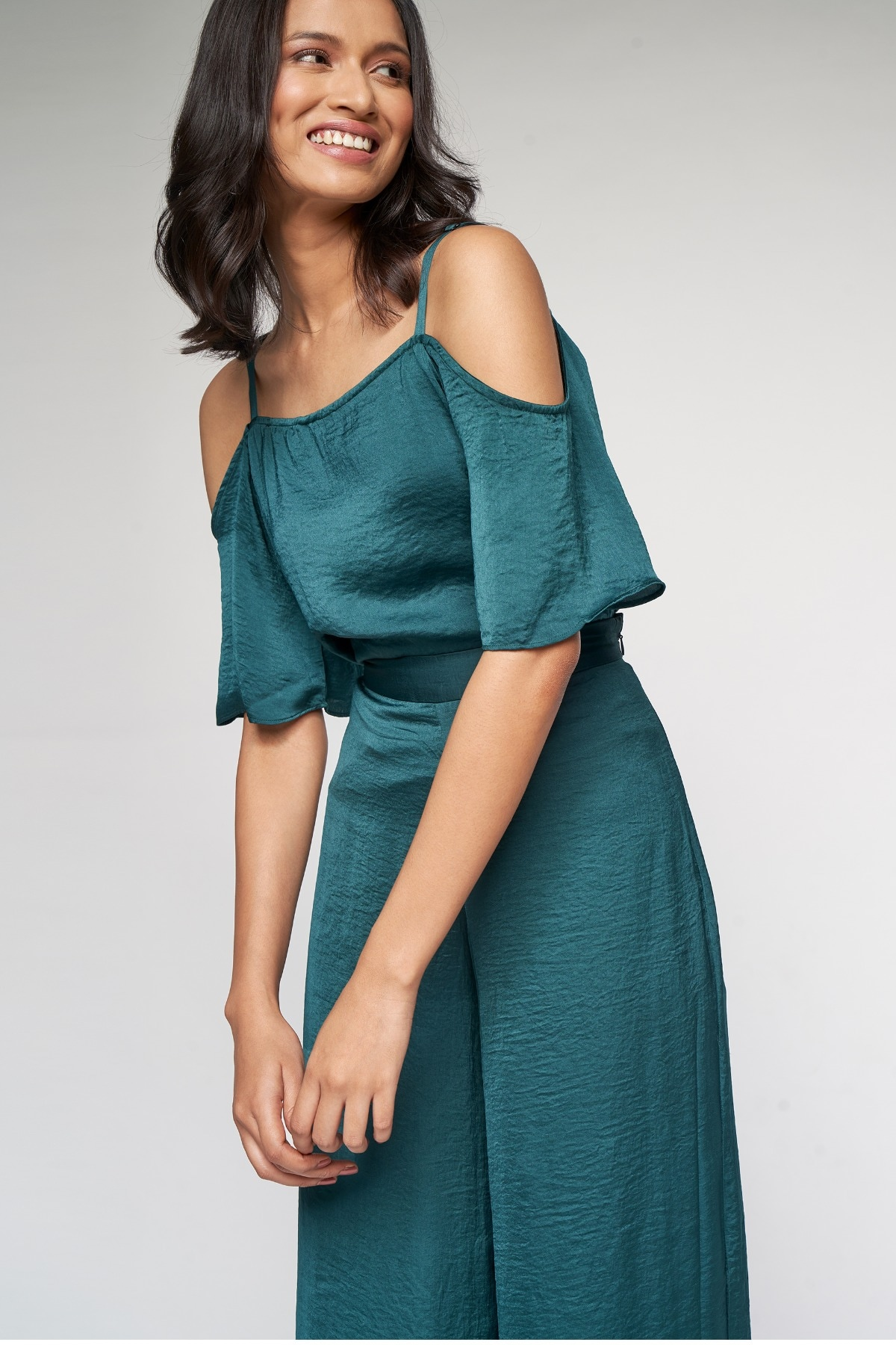 AND | Green Solid Fit and Flare Co-ordinate Set