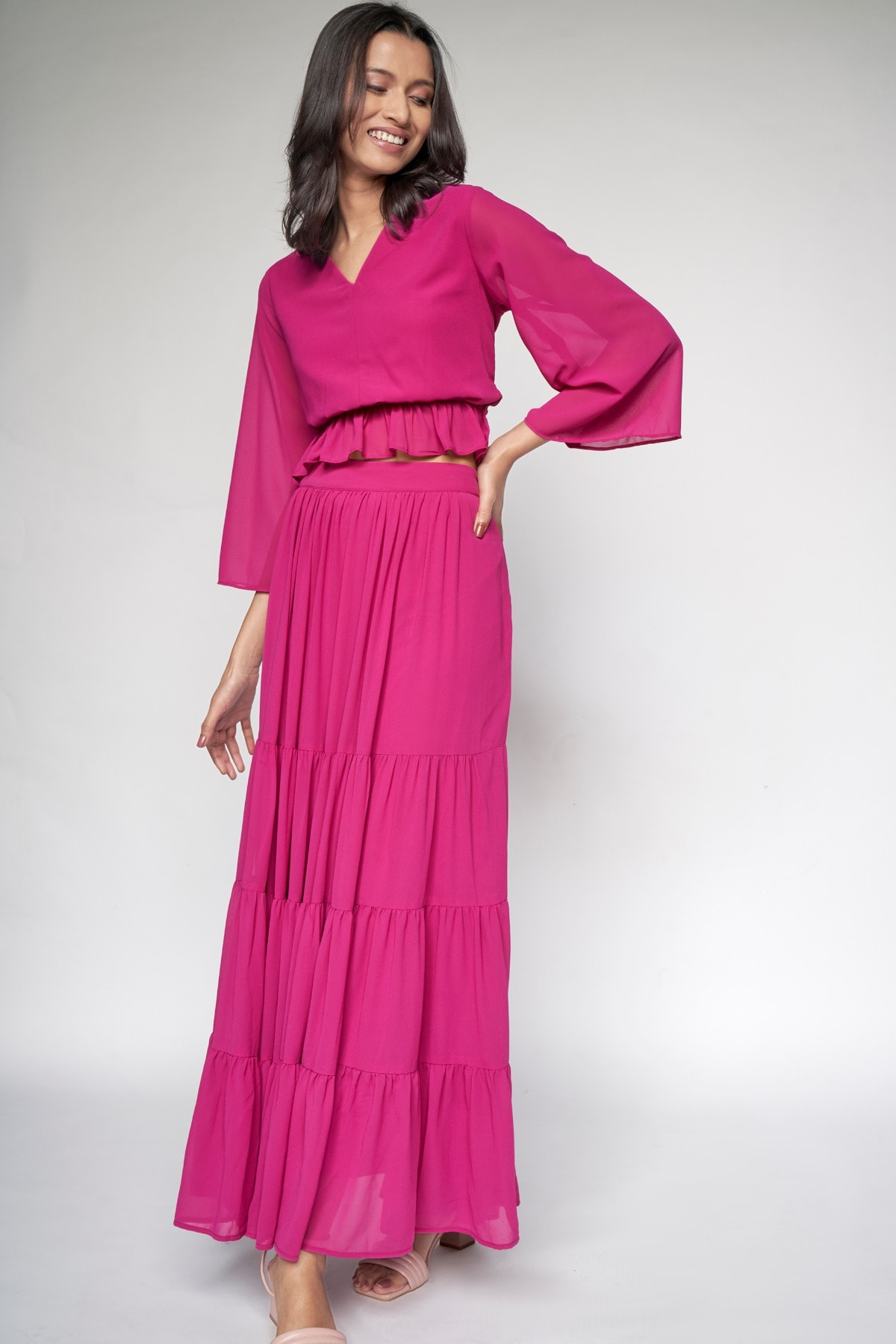 AND | Magenta Solid Fit and Flare Set