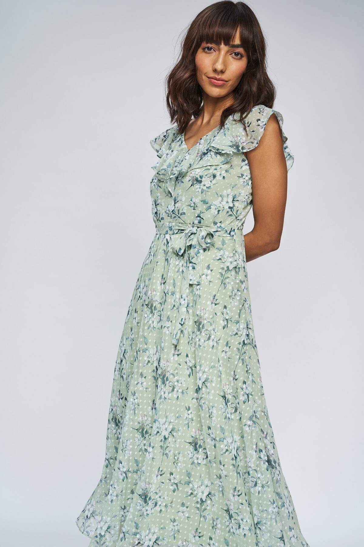 AND | Sage Green Floral Fit And Flare Gown