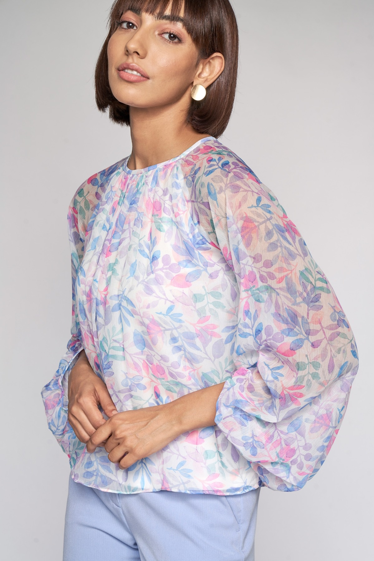 AND | Multi Color Floral A-Line Top